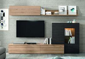 ensemble meuble tv disponible en 2 coloris : chêne/blanc ou chêne/gris