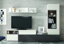 ensemble meubles TV avec commodes étagère et armoire gris anthracite et blanc