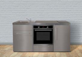 Kitchenette en inox avec four, réfrigérateur et plaque vitrocéramique 170 cm
