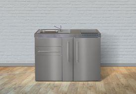 Kitchenette Stengel en Inox toute équipée : réfrigérateur, plaques vitrocéramiques, évier