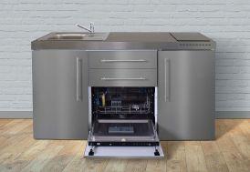 Kitchenette en métal inoxydable toute équipée avec réfrigérateur, lave-vaisselle et induction