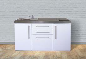 mini-cuisine en métal laqué blanc avec placards