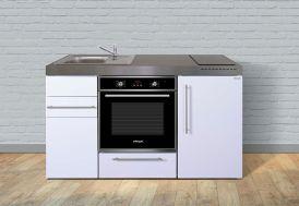 Kitchenette blanche toute équipée : réfrigérateur, four, plaques de cuisson