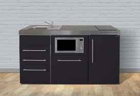 cuisinette pour studio noir avec rangement 160 cm de large