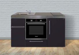 Kitchenette en métal noir mat avec four, réfrigérateur, plaques vitrocéramiques