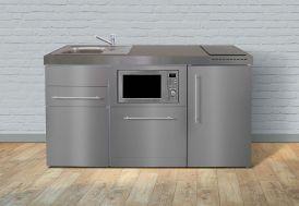 Kitchenette en inox toute équipée : réfrigérateur, micro-ondes, lave-vaisselle