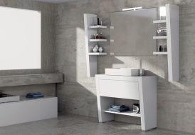 mobilier de salle de bain : meuble, vasque, miroir, éclairages