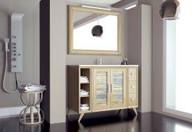 mobilier de salle de bain vintage : casier, tiroirs, portes, vasque et miroir