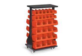 rack de stockage rouge en acier + 56 bacs