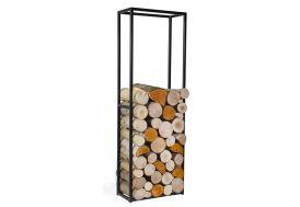 range bois en acier résistant permet de stocker le bois à côté de la cheminée