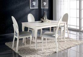Salle à Manger en Pin Laqué : Table Extensible 140/200x90 Aragon