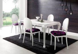 Salle à Manger Béa en Hêtre Laqué : Table Extensible 140/200x90 + 4 Ch