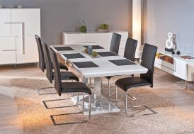 Salle a Manger : Table Extensible Edmonton 160/200x90 cm + 6 Chaises