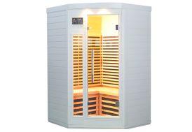 Sauna d'angle en bois massif cabine infrarouge 3 personnes