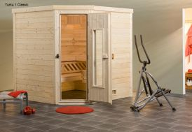 Sauna Turku 1  Angle Bois Massif 45mm 195x195