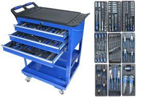 Servante d'Atelier en Métal 3 Tiroirs 2 étagères avec Accessoires et Outils