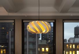 Lampe Suspension Design en Bois Éclipse 48x22cm