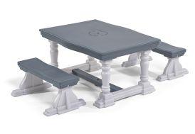 Ensemble de table et bancs pour enfant Step 2 en plastique blanc et gris