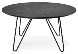 Table Basse en Bois de Chêne et Métal Kokoon Design Runda Noir