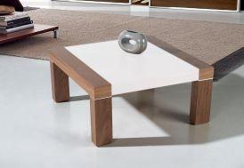 Table Basse Mikonos Carrée 90x90x42cm Chêne Laqué et Verre Trempé 8mm