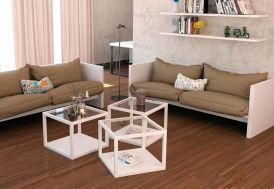 Table Basse Carrée en Acier avec Verre de 6 mm Moscou 57x57x45cm