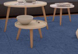 Table Basse Ronde en Acier et MDF Milan 50x50x30cm