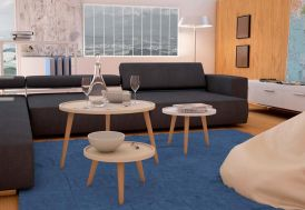Table Basse Ronde en Acier et Polylaminé Milan 45x45x30cm