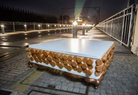 Table Basse Design en Liège, MDF Laqué et Cuivre Bolzano