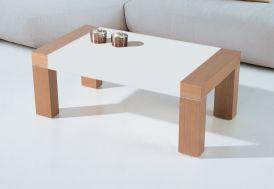 Table Basse Mikonos Plateau Relevable 110x60x42/55cm Chêne Laqué + Verre