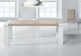 Table Extensible 140/230x90, Hêtre Massif Laqué Blanc+Verre Mikonos