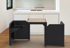 Table Modulable Be-Twin Noire avec 2 Assises et 2 Rangements