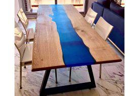Table à Manger Table Rivière en Bois de Chêne et Résine Époxy Bleu Marine 180 cm Wood Bar Project