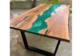 Table à Manger en Bois de Noyer et Résine Époxy Vert Émeraude 200 cm Wood Bar Project