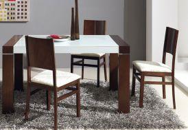 Table Extensible 140/185x90 en Chêne Massif + Verre Blanc Optique Mikonos