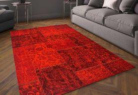 Tapis en Coton Patchwork Rouge 120x180cm