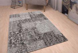 Tapis Coton et Acrylique Patchwork 160x230cm gris et noir