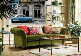 Tenture Murale Design en Coton Bio 185x145cm La Havane