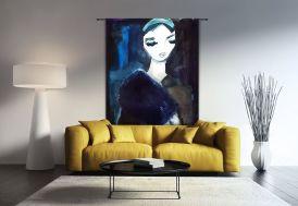 Tenture Murale Design en Coton Bio 145x190cm Lady in Blue