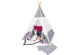 Tipi pour enfant en bois massif et en tissu blanc et gris étoilé Pinolino