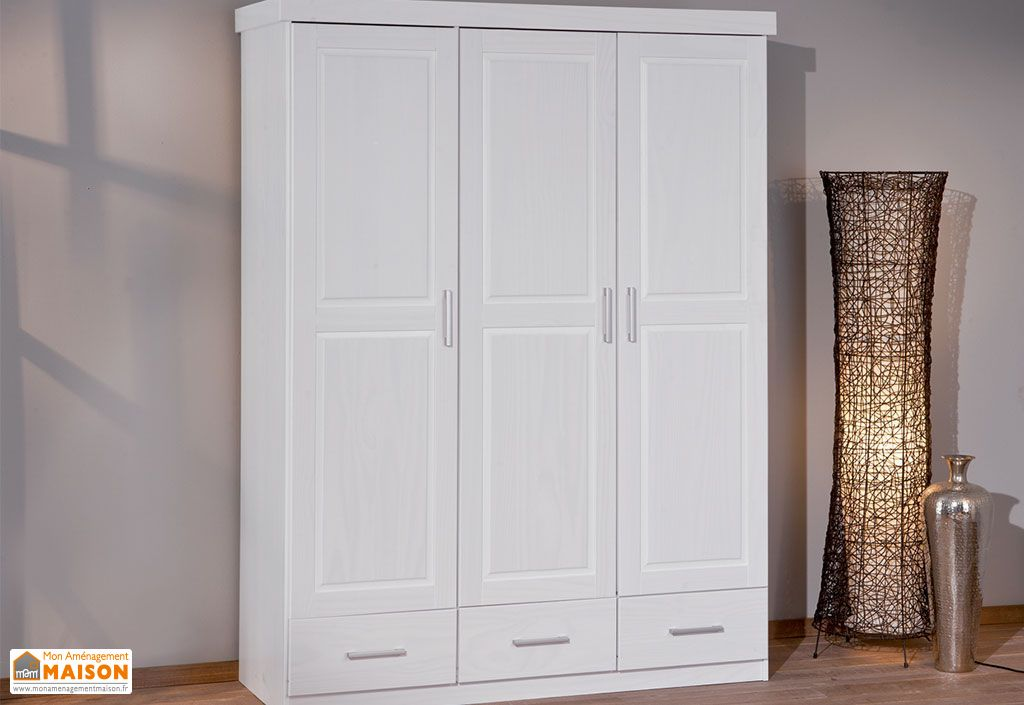 Chambre compl te lit 90x190 avec tiroirs armoire 3p for Chambre complete avec armoire