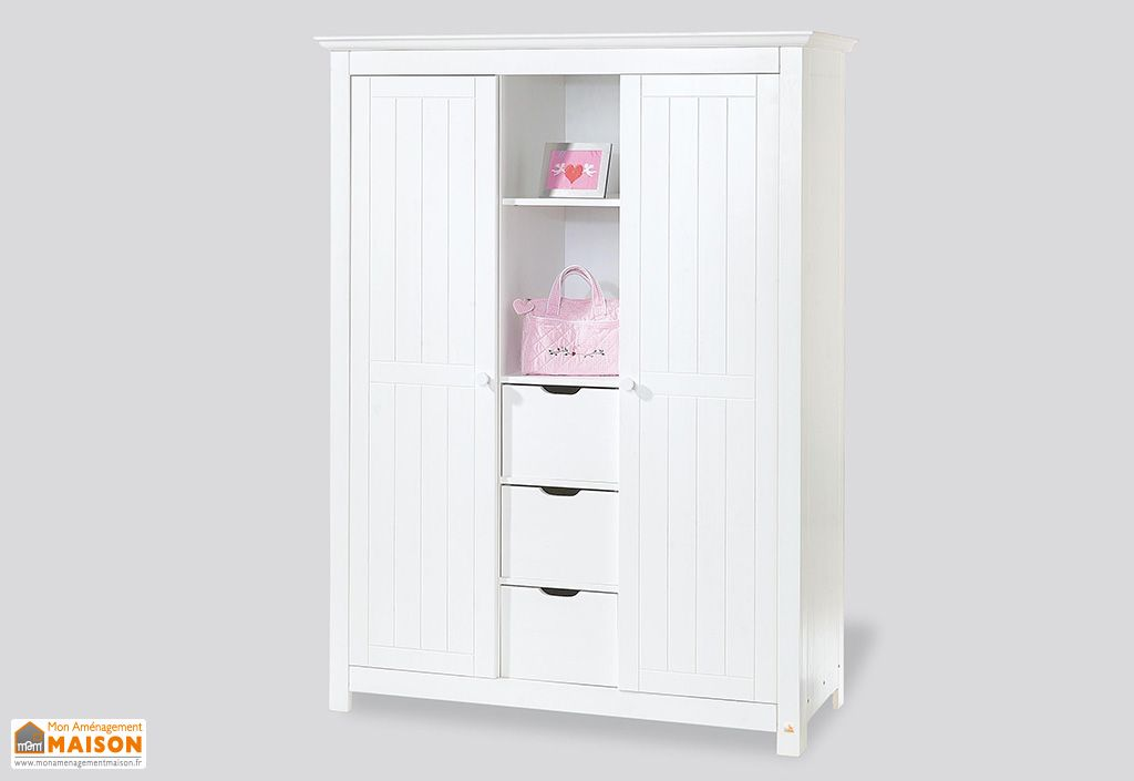 chambre d 39 enfant en pic a blanc nina 1 lit 1 commode et. Black Bedroom Furniture Sets. Home Design Ideas