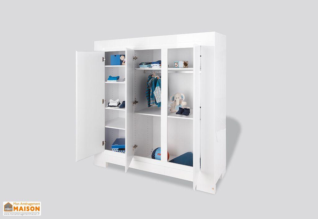 armoire pour enfant blanc laqu sky 3 portes pinolino. Black Bedroom Furniture Sets. Home Design Ideas