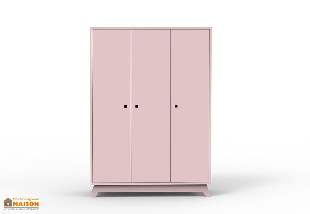 armoire enfant en bois MDF rose