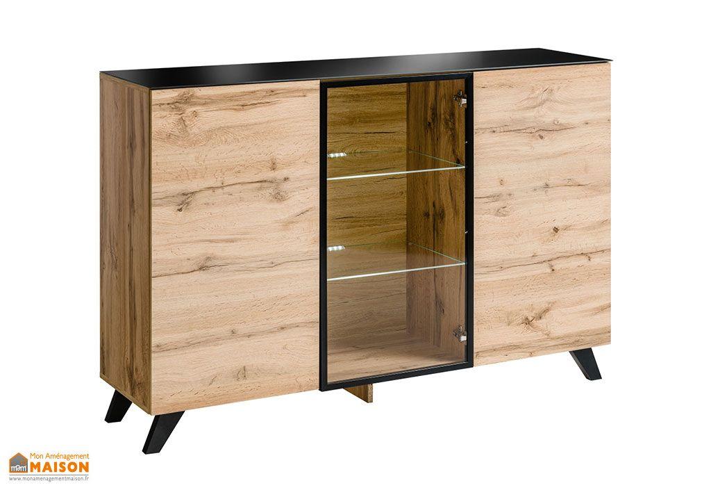 Buffet 2 portes en bois avec vitrine ASM Thin