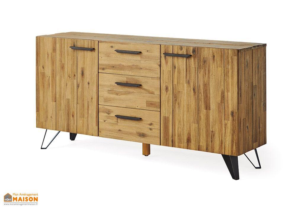 Buffet bas en bois meuble enfilade 160 cm avec 2 tiroirs et 2 portes