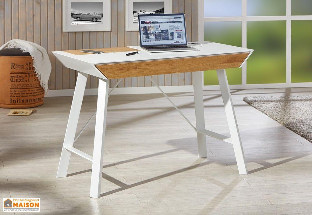 Bureau moderne en bois et métal blanc cm everett furnitures
