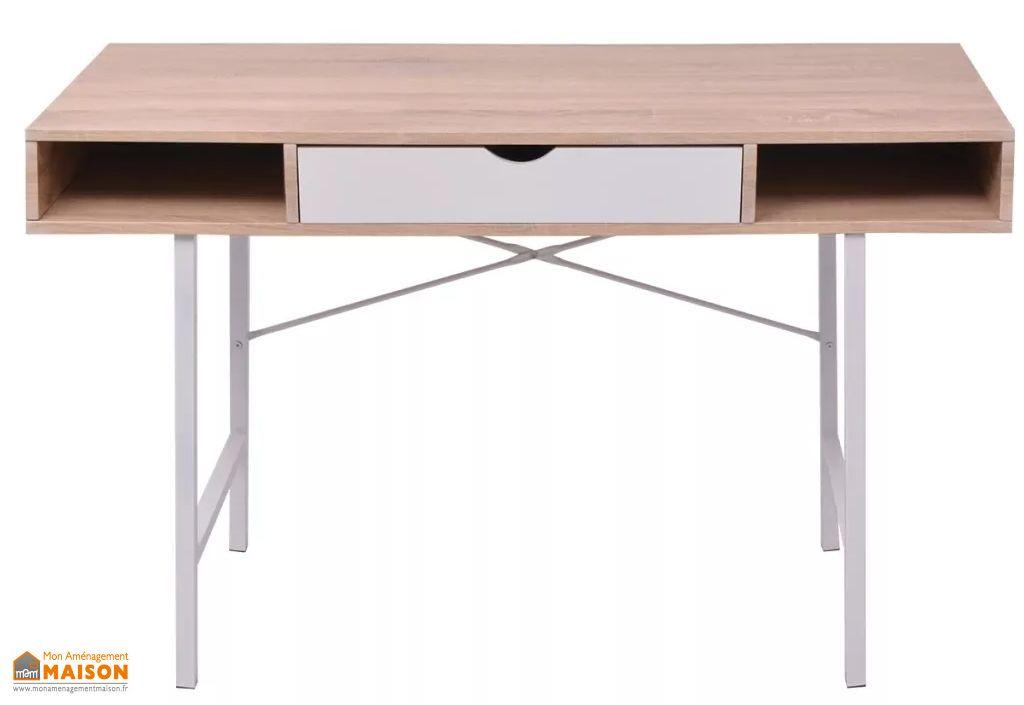 Bureau console en bois et métal avec rangement u tiroir vidaxl