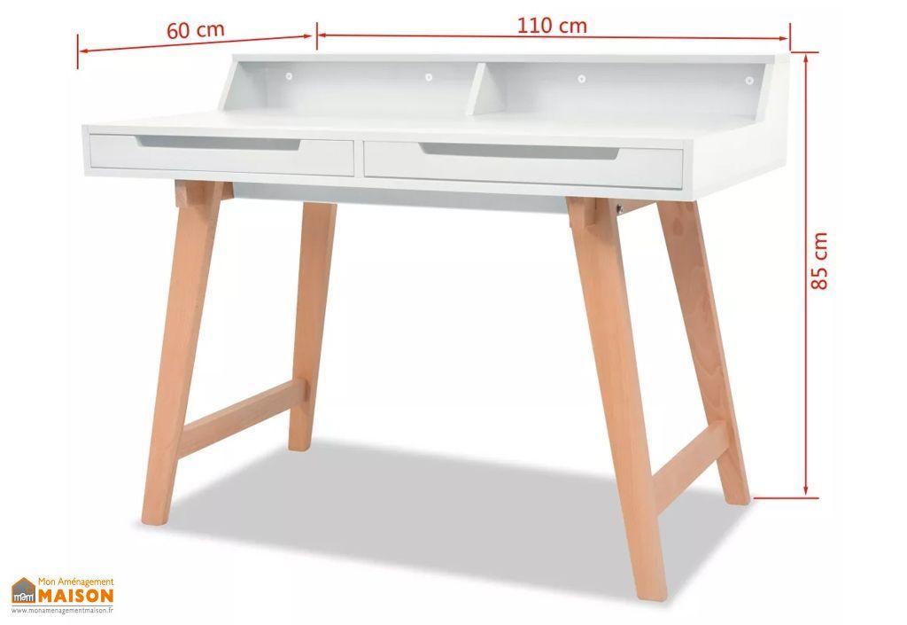 Bureau informatique blanc en bois avec rangement u tiroirs vidaxl