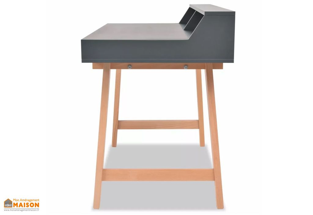 Bureau informatique gris en bois avec rangement u2013 2 tiroirs vidaxl