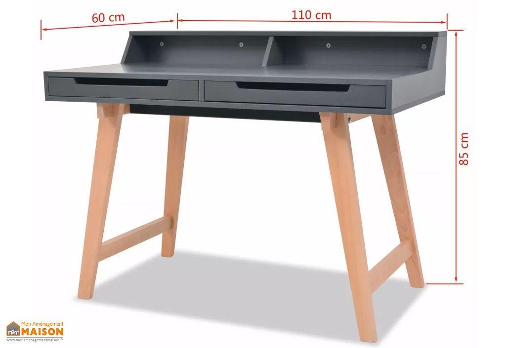 Bureau informatique gris en bois avec rangement u tiroirs vidaxl